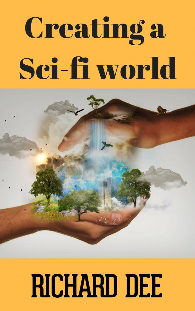 "World Building Course book cover, ""Creating a Sci-fi World."""