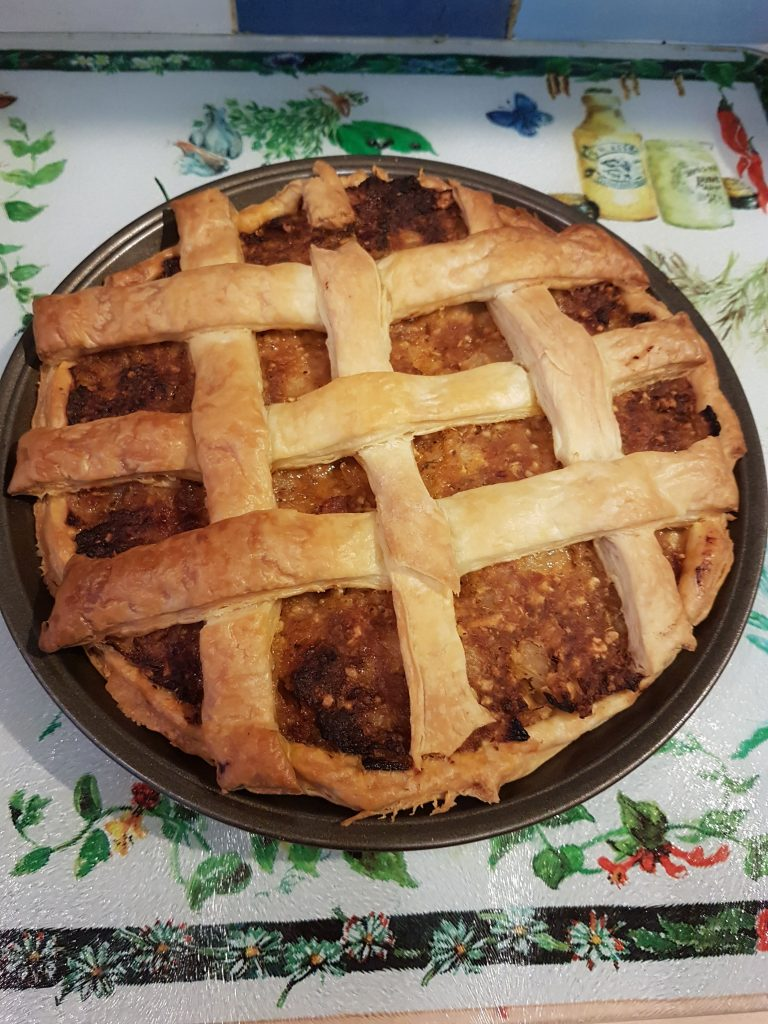 Sausagemeat, Onion and Apple Pie.